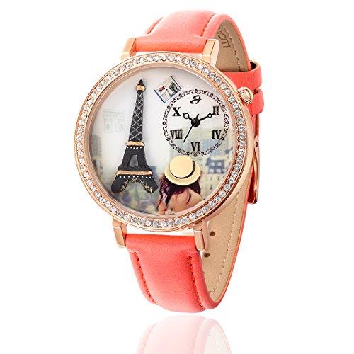 Uhr mit IP PINK und Armband Koralle Eiffel
