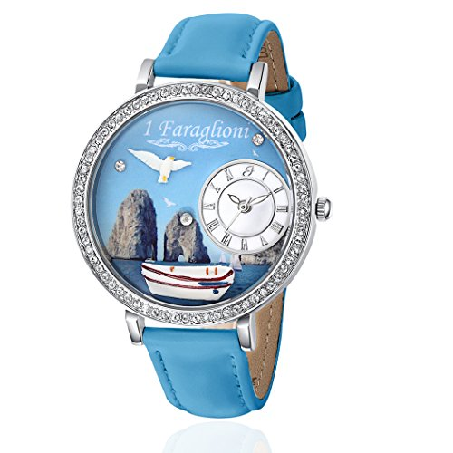 Uhr mit IP Silber und Armband Blau Die Faraglioni