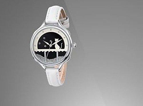 Uhr IP Silver versilbert und Armband Weiss