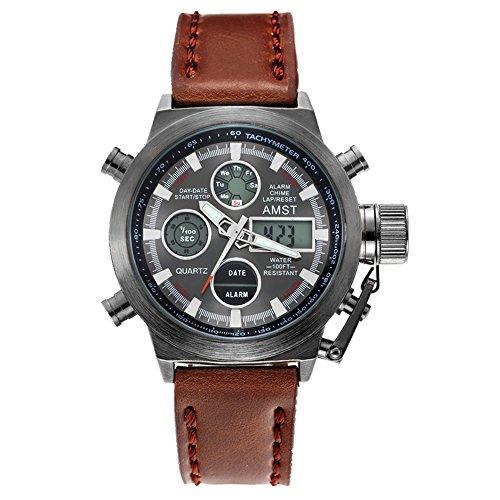 AMST 3003 Quarz Sport muti functional Armbanduhr mit Analog Digital Time Display schwarz