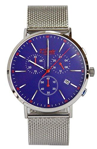 M Conte Herren Armbanduhr Chronograph Quarz Meshband Silber Blau Conte Ricardo blue