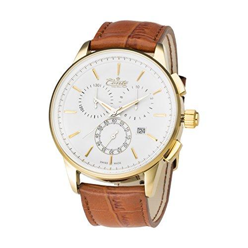 M Conte Herren Armbanduhr Chronograph Quarz Leder Braun Gold Swiss Made VIA WH BR GRAVUR