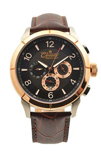 M Conte Chronograph Quarz Leder Braun Rose Gold Conte Othon
