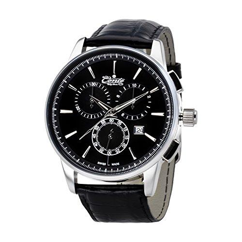 M Conte Herren Armbanduhr Chronograph Quarz Leder Schwarz Silber Swiss Made Conte Viareggio bl