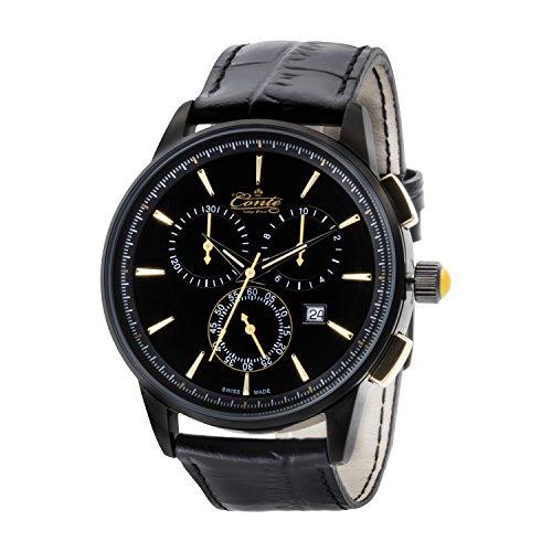 M Conte Chronograph Quarz Leder Schwarz Gold Swiss Made Conte Viareggio go