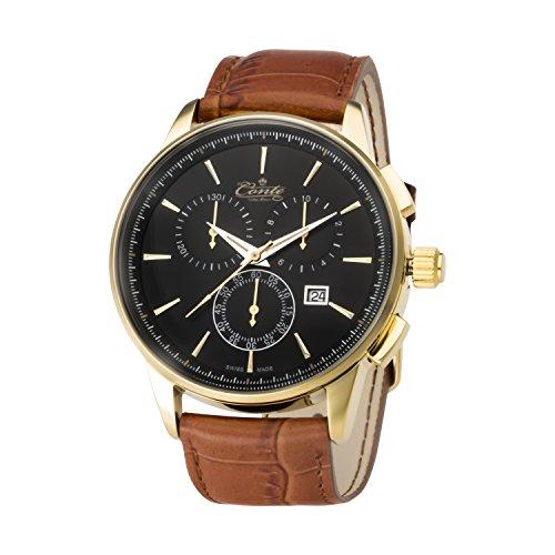 M Conte Herren Armbanduhr Chronograph Quarz Leder Braun Schwarz Swiss Made VIA BL BR GRAVUR