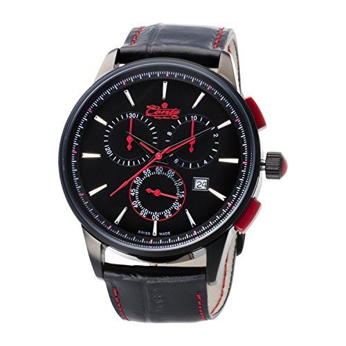 M Conte Herren Armbanduhr Chronograph Quarz Leder Schwarz Rot Swiss Made Via Red