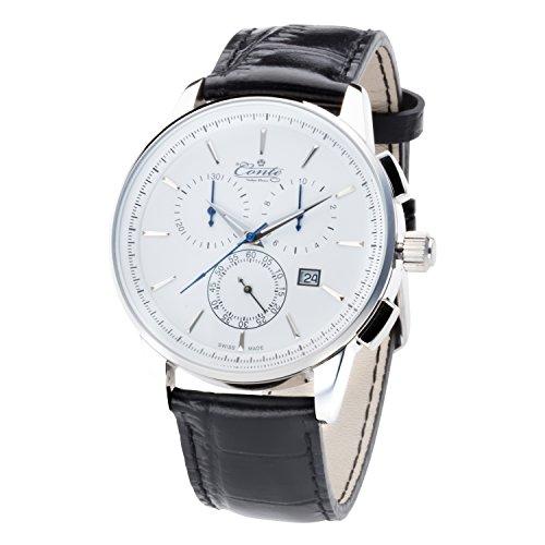 M Conte Chronograph Quarz Leder Schwarz Weiss Swiss Made VIA WH BL GRAVUR