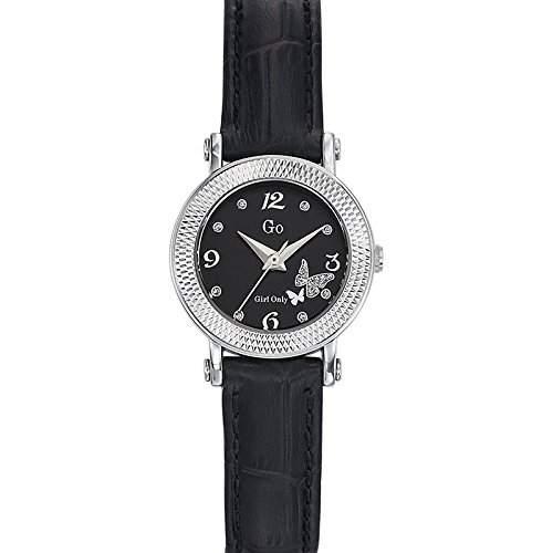 Go Girl Only Damen-Armbanduhr 698593-Quarz-Analog Zifferblatt schwarz Armband Leder schwarz