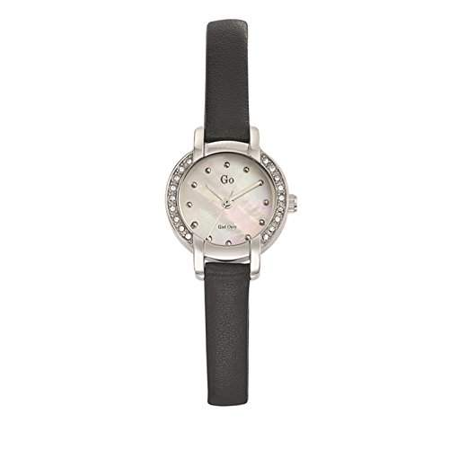 Go Girl Only Damen-Armbanduhr 698630-Quartz Analog-Ziffernblatt Perlmutt-Armband Leder Schwarz