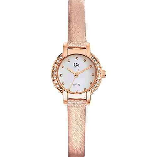 Go Girl Only Damen-Armbanduhr 698631-Quartz Analog-Ziffernblatt Perlmutt-Armband Leder rosa