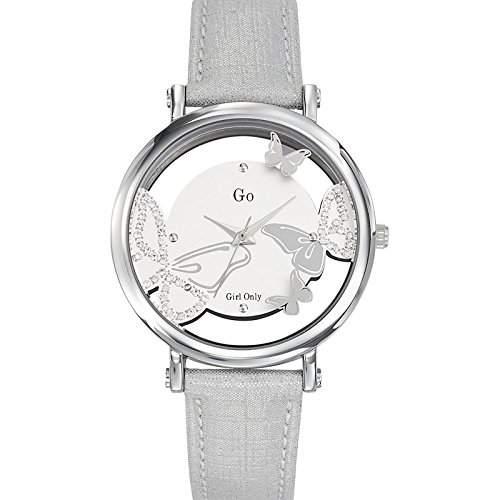 Go Girl Only Damen-Armbanduhr 698648-Quarz-Analog Zifferblatt Silber Armband Leder Silber