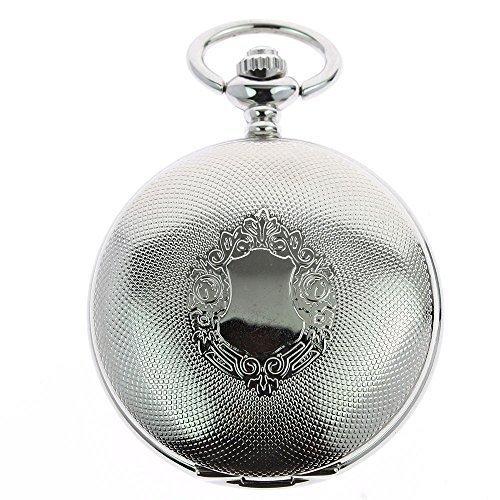 itemstoday Antik Optik Edelstahl Silber Herren Mechanische Taschenuhr Steampunk