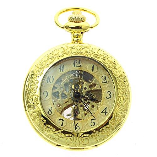 itemstoday Full gelb gold Automatische Antik Unisex Taschenuhr mit Kette und Box