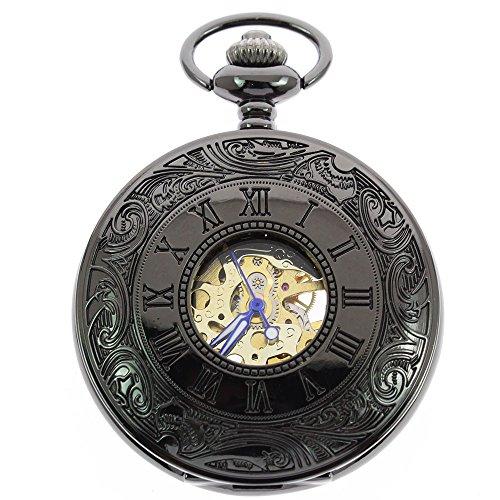itemstoday Classic roemischen Ziffern Herren Retro Mechanische Taschenuhr mit Kette