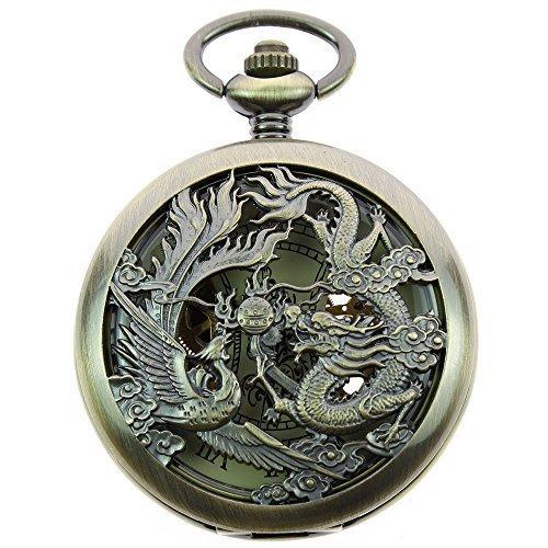 itemstoday Taschenuhr fuer Herren Phoenix und Drachen Design antiker Stil roemisches Zifferblatt mechanisches und skelettiertes Uhrwerk