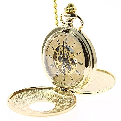 itemstoday Goldfarbene Herren Taschenuhr mit Sprungdeckel mechanisch von Hand aufzuziehen eingravierte roemischen Ziffern