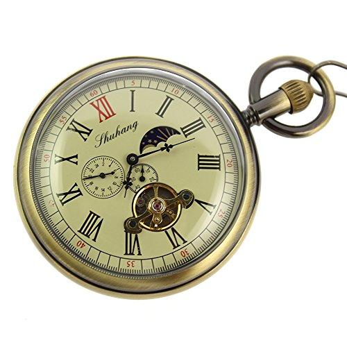 itemstoday taschenuhr mit Mondphasen Anzeige Tourbillon Uhr Kupfer Antik Optik Mechanische Taschenuhr