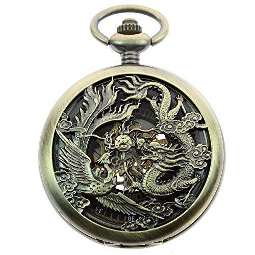 itemstoday Herren Antik Phoenix und Drachen roemischen Zahl Zifferblatt Skelett Mechanische Taschenuhr