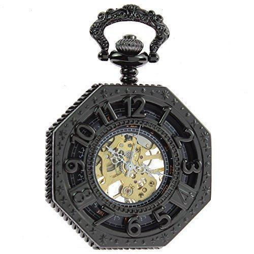 itemstoday Herren Bronze Antik roemischen Ziffern Gehaeuse und Zifferblatt Skelett Mechanische Taschenuhr Steampunk