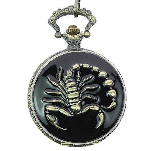 itemstoday Skorpion Gravur Fall Bronze Fashion Japanische Quarz Herren Taschenuhr fuer Geschenk
