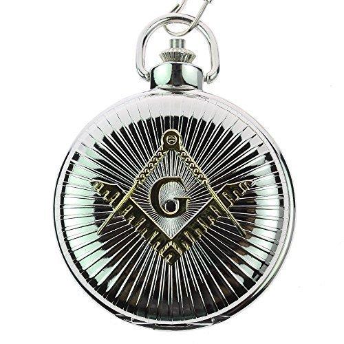 itemstoday Antik Frei Mason Symbol Gravur Fall Gloss Finish Quarz Herren Taschenuhr Steampunk