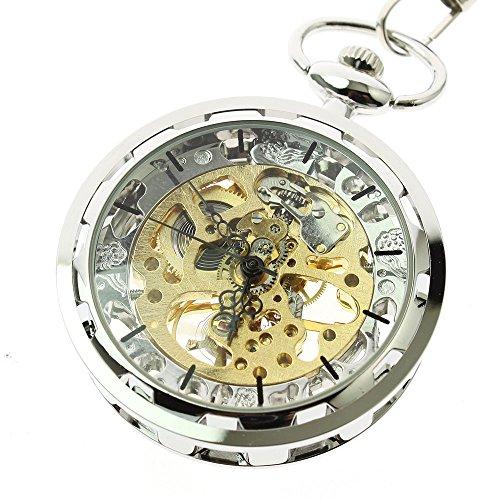 Itemstoday Herren Taschenuhr Antik Optik Skelett Edelstahl Gehaeuse mechanisches Uhrwerk mit Handaufzug