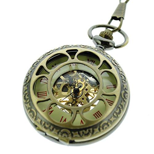 itemstoday rot Roemischen Ziffern Bronze Zifferblatt Bluetenblatt Muster Skelett Hohl Cover Mechanische Taschenuhr aufziehbar
