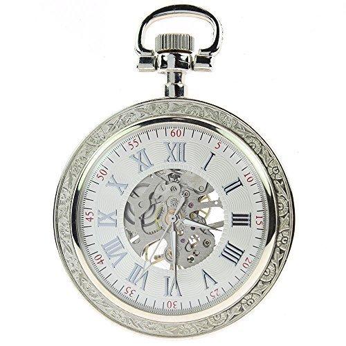 itemstoday Steampunk Silber Gravur Fall Weiss Zifferblatt Silber roemischen Ziffern mechanische Taschenuhr aufziehbar