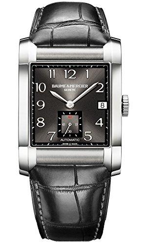 Baume Mercier Hampton Herren Automatik Uhr mit schwarzem Zifferblatt Analog Anzeige und schwarz Lederband ma010027