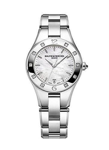 Baume Mercier Linea Automatik Damen Uhr mit Perlmutt Zifferblatt Analog Anzeige und Silber Edelstahl Armband ma010035