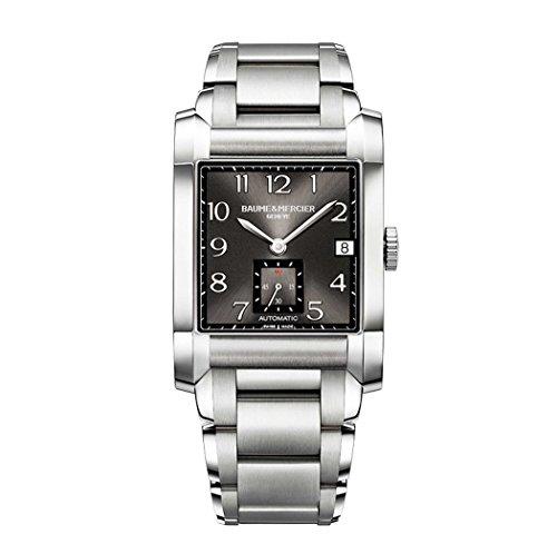 Baume Mercier Herren Automatik Uhr mit schwarzem Zifferblatt Analog Anzeige und Silber Edelstahl Armband m0 a10048