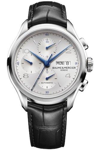 Baume Mercier Clifton Herren Automatik Uhr mit Silber Zifferblatt Chronograph Anzeige und schwarz Lederband m0 a10123