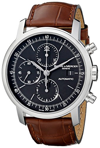 Baume et Mercier Classima Fuehrungskraefte Edelstahl Automatik Chronograph Braun Kalbsleder Armbanduhr 8589