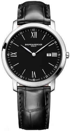 Baume Mercier Classima moa10098 39 mm Edelstahl Fall Schwarz Leder Kristall Saphir Herren Armbanduhr