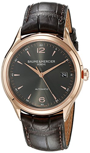 Baume und Mercier Clifton Grau Zifferblatt 18 kt Rose Gold Brown Alligator Leder Herren Armbanduhr moa10059