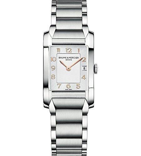 Baume Mercier Hampton Damen Quarzuhr mit weissem Zifferblatt Analog Anzeige und Silber Edelstahl Armband M0 A10049