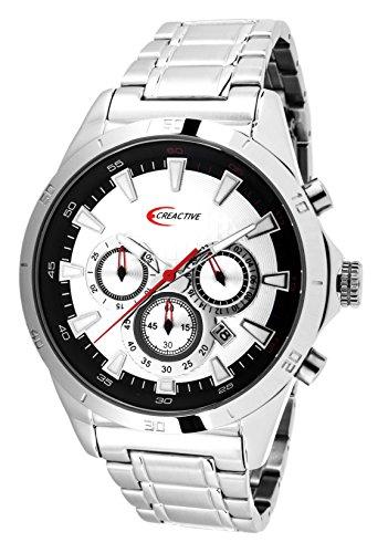 Creactive Herren Armbanduhr Chronograph Quarz Analog Edelstahl CA120103