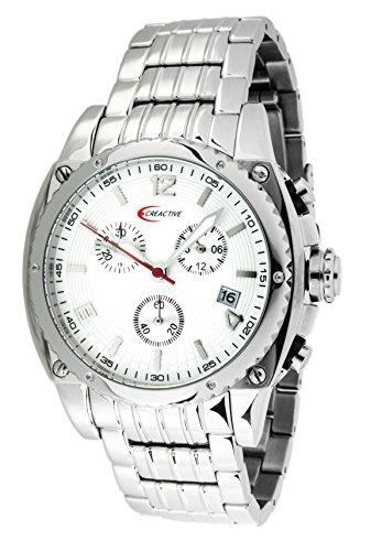 Creactive Herren Armbanduhr Chronograph Quarz Analog Edelstahl CA120105
