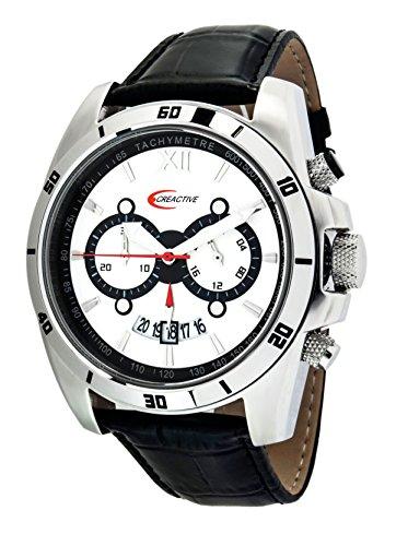 Creactive Herren Armbanduhr Chronograph Quarz Analog Leder CA120113