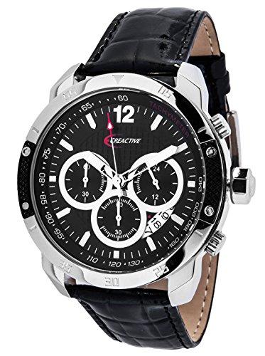 Creactive Herren Armbanduhr Chronograph Quarz Analog Leder CA120114