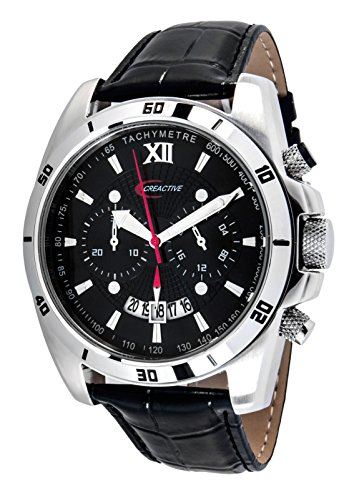Creactive Herren Armbanduhr Chronograph Quarz Analog Leder CA120112