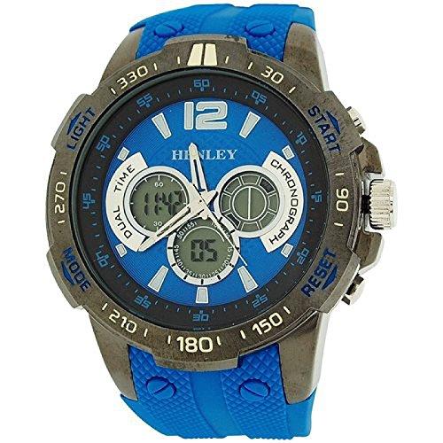 Henley Herren Ana Digi Chronograph Zifferbl bel blaues Silikonb HDG029 6