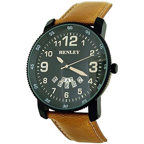 Henley analog schw Zifferblatt Tagesdatum hellbr PU Band H02101 4
