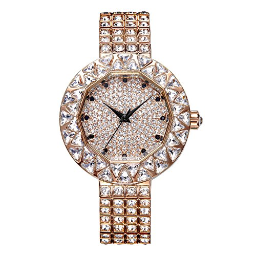 Matisse Lady Full Crystal Luenette Zifferblatt Stahl Fashion wristwatch Gold
