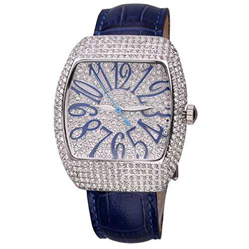 Matisse Lady Vogue Full Kristall Leder Strap Fashion Quarzuhr Armbanduhr Blau