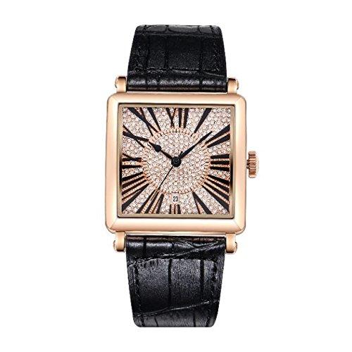 Matisse Damen Fashion Full Kristall Zifferblatt Lederband Quarzuhr Armbanduhr Schwarz