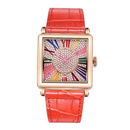 Matisse Damen Fashion Full Kristall Zifferblatt Lederband Quarzuhr Armbanduhr rot