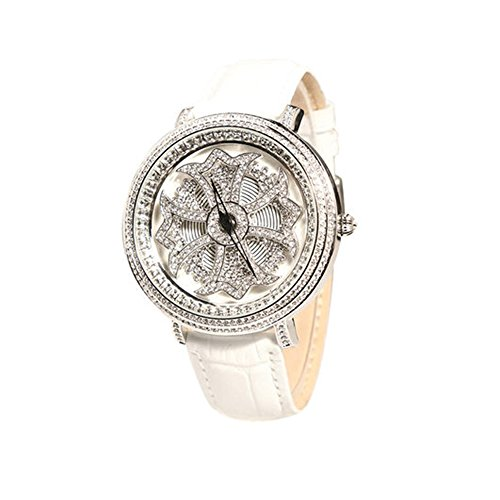 Matisse Fashion Lady Full Kristall drehbar Zifferblatt Oxford Quarzuhr Armbanduhr Weiss