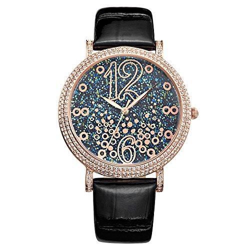 Matisse Fashion Full Kristall Zifferblatt roemische Zahl Damen Fashion Strap Quarz Leder Armbanduhr blau